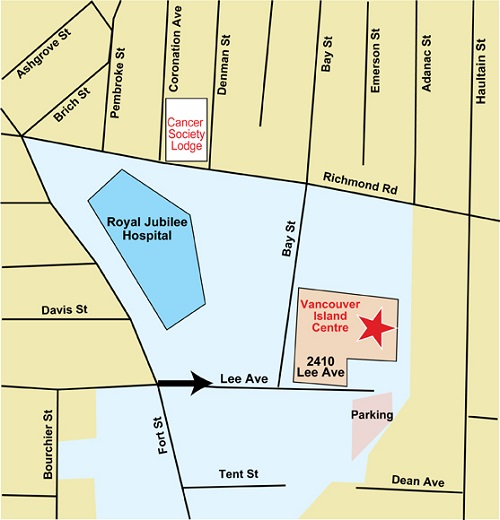 Map of Vancouver Island Cancer Centre's location