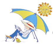 Sunbathing under a parasol