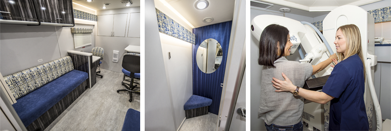 Images of the interior of the mobile mammography coach